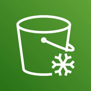 Amazon S3 Glacier icon depicting a bucket with a snowflake against a green background