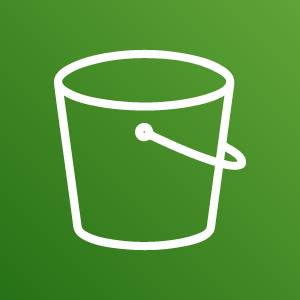 Amazon Simple Storage Service icon depicting a bucket against a green background