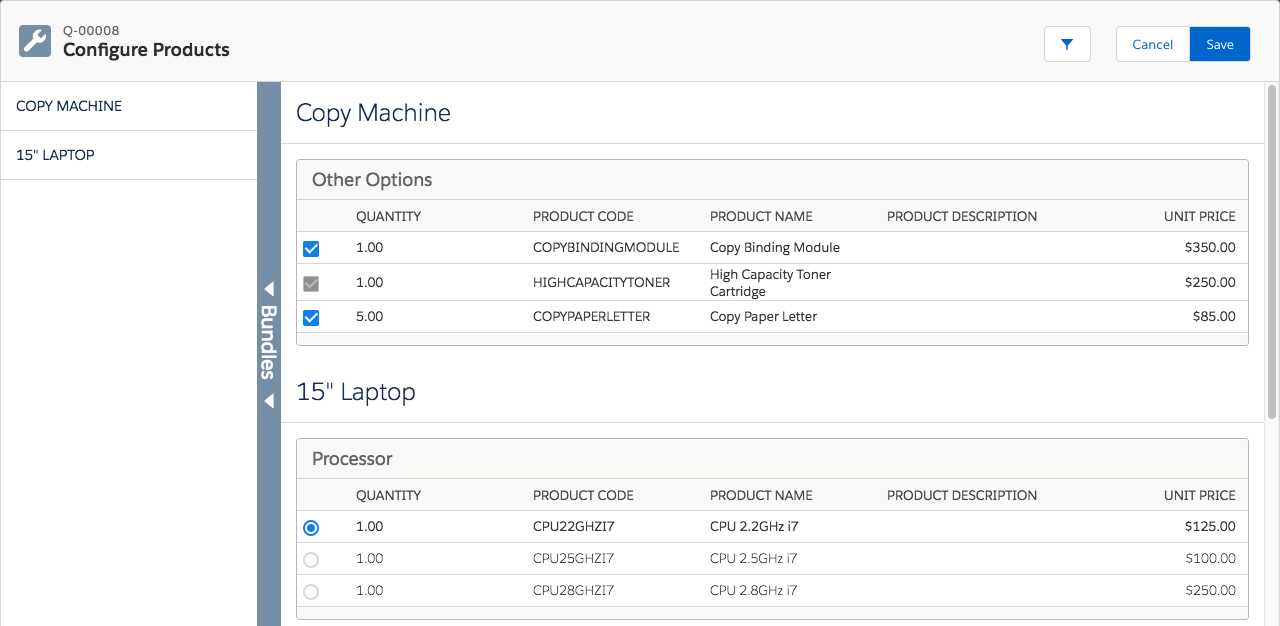 Configure Products page