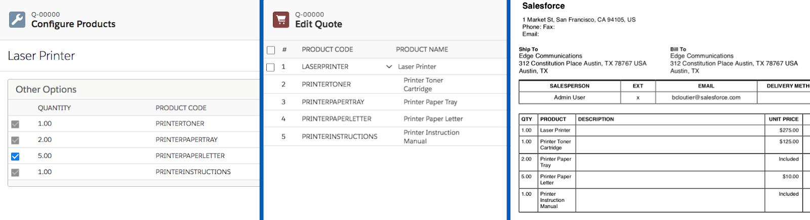 Configure Products Page, Quote Line Editor page, and generated document