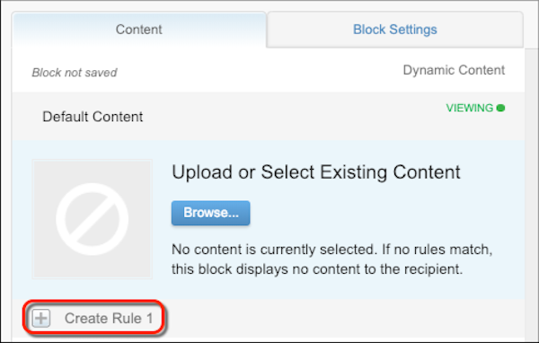 The dynamic content block configuration form with a red circle on the Create Rule 1.
