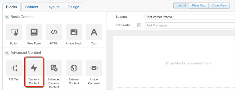 Content block icons in the email editor with a red circle around the icon for the Dynamic Content block.
