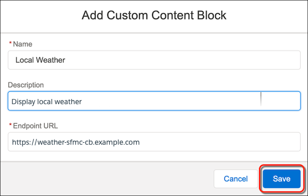 The Add Custom Content Block form with the Save button circled in red.