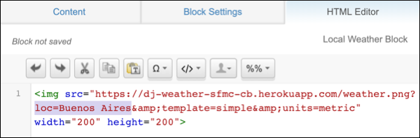 The HTML editor showing the HTML code for the local weather block.