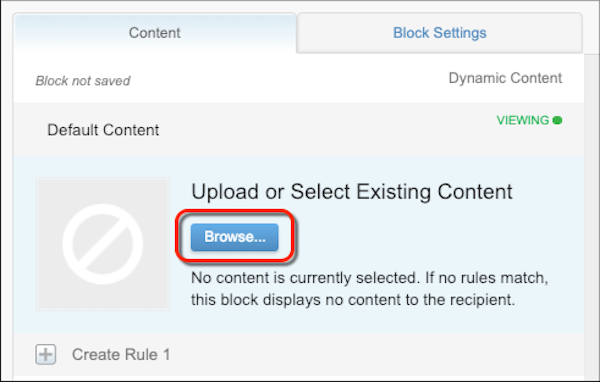 The dynamic content block configuration form with a red circle on the Browse button
