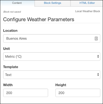 The block configuration form for the weather app.