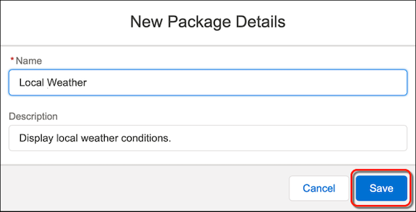 The New Package Details form with the Save button circled in red.