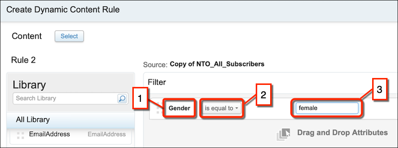 The Create Dynamic Content Rule form with callouts on the attribute, operator and value fields.