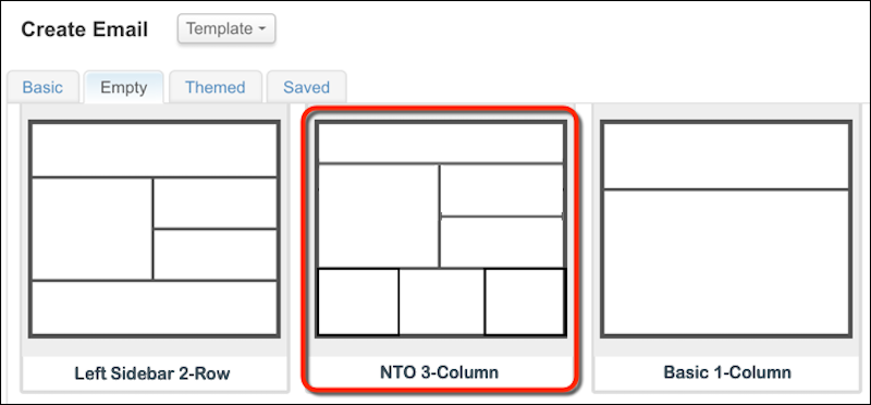 Content Builder basic templates with the NTO 3-Column template circled in red.