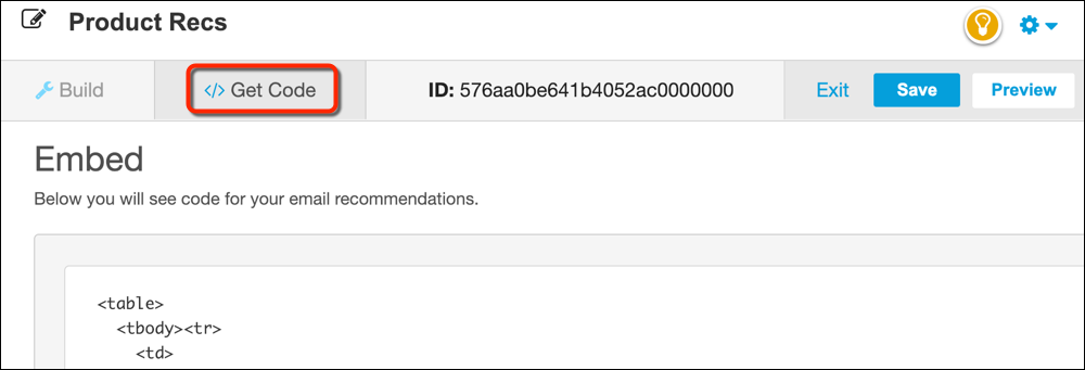 The Personalization Builder recommendation code page with a red circle around the Get Code nav item.