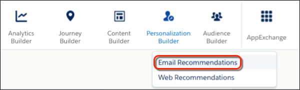 Personalization Builder dropdown menu with a red circle around the Email Recommendations menu item.