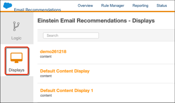 Email Recommendations icon menu with a red circle on Displays.
