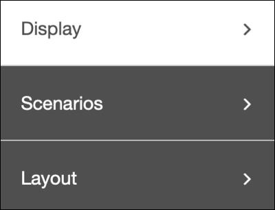 The logic creation left nav menu options: Display, Scenarios, and Layout.