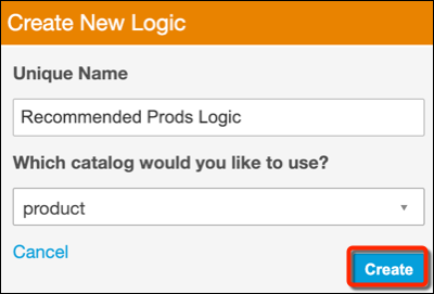 The Create New Logic form in Personalization Builder with a red circle around the Create button.