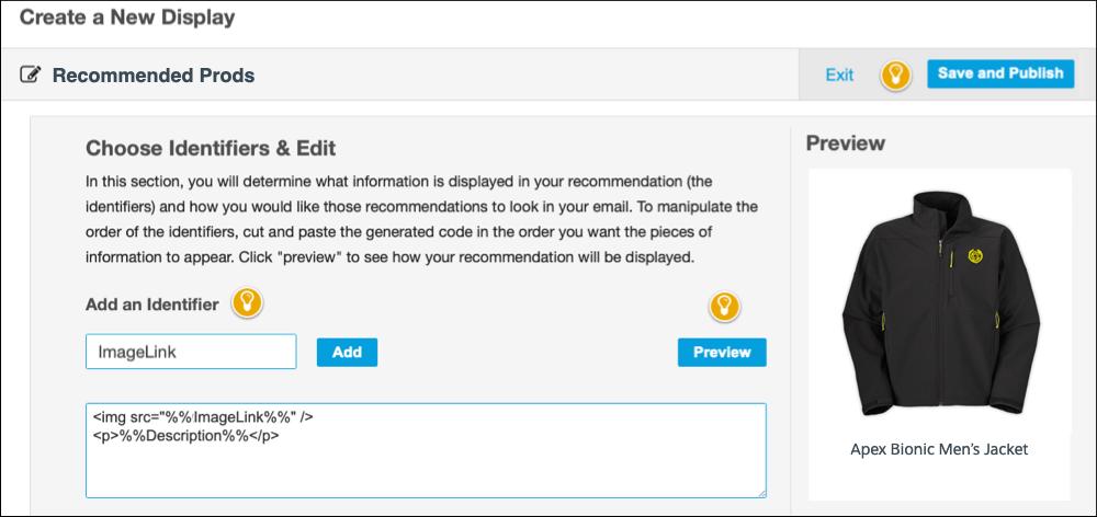 The Choose Identifiers & Edit form.