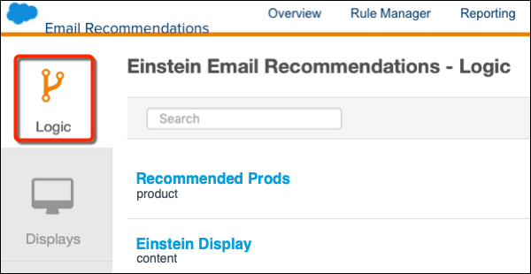 The email recommendations icon menu with a red circle on Logic.