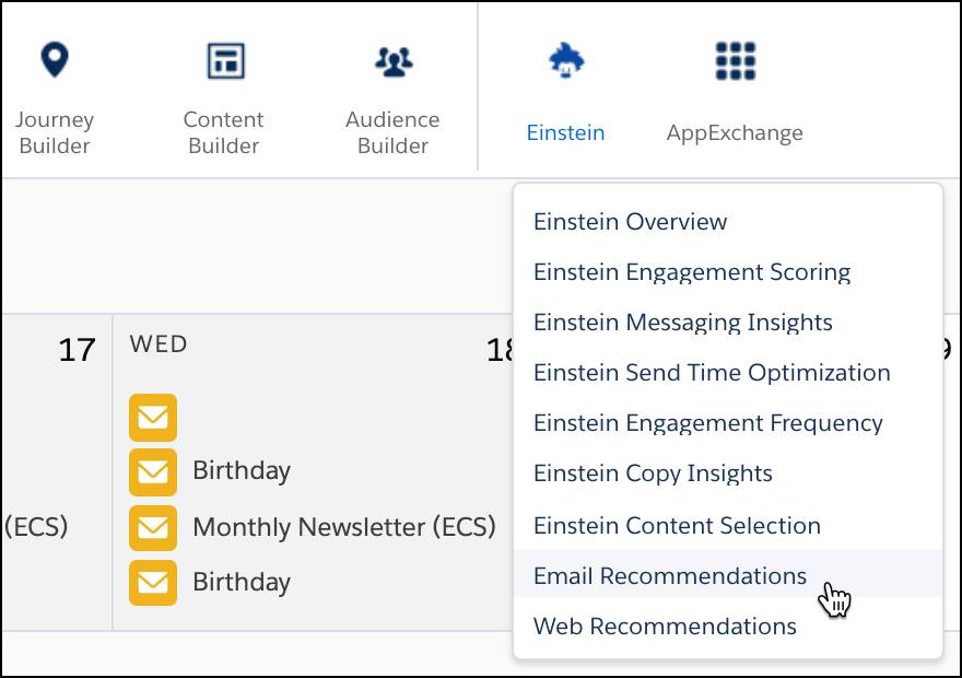 dropdown menu with a red circle around the Email Recommendations from the Einstein menu item.