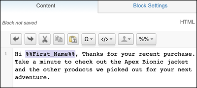 Block details showing the use of the first name profile attribute in a personalization string.]