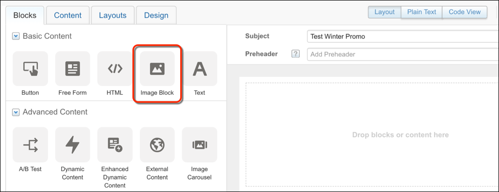 Content block icons in the email editor with a red circle around Image Block.