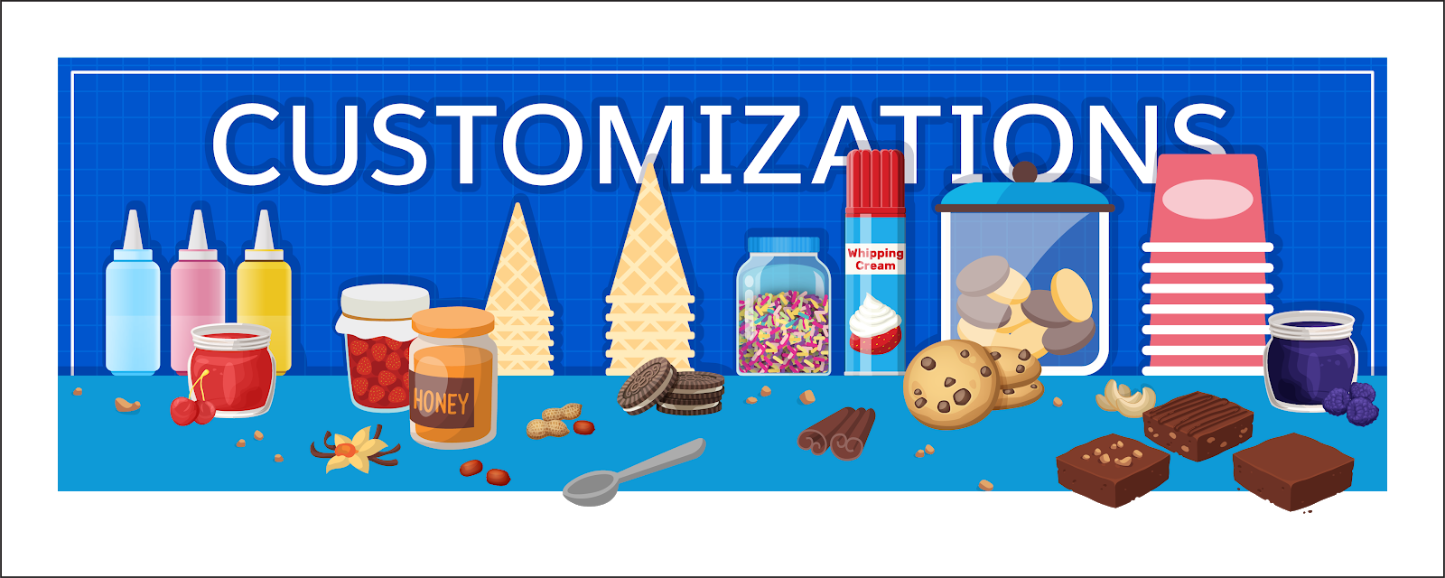The sundae toppings are the additional customizations your particular organization needs.