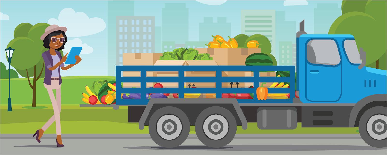 スーパーマーケットのトラックからの寄贈品搬入を監督している Tasha。