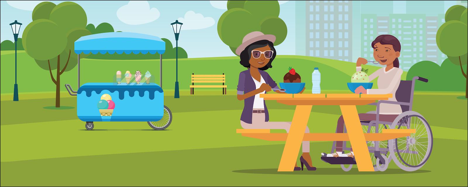 ピクニックテーブルに向かい合って座り、サンデーを食べている Tasha と Maddie