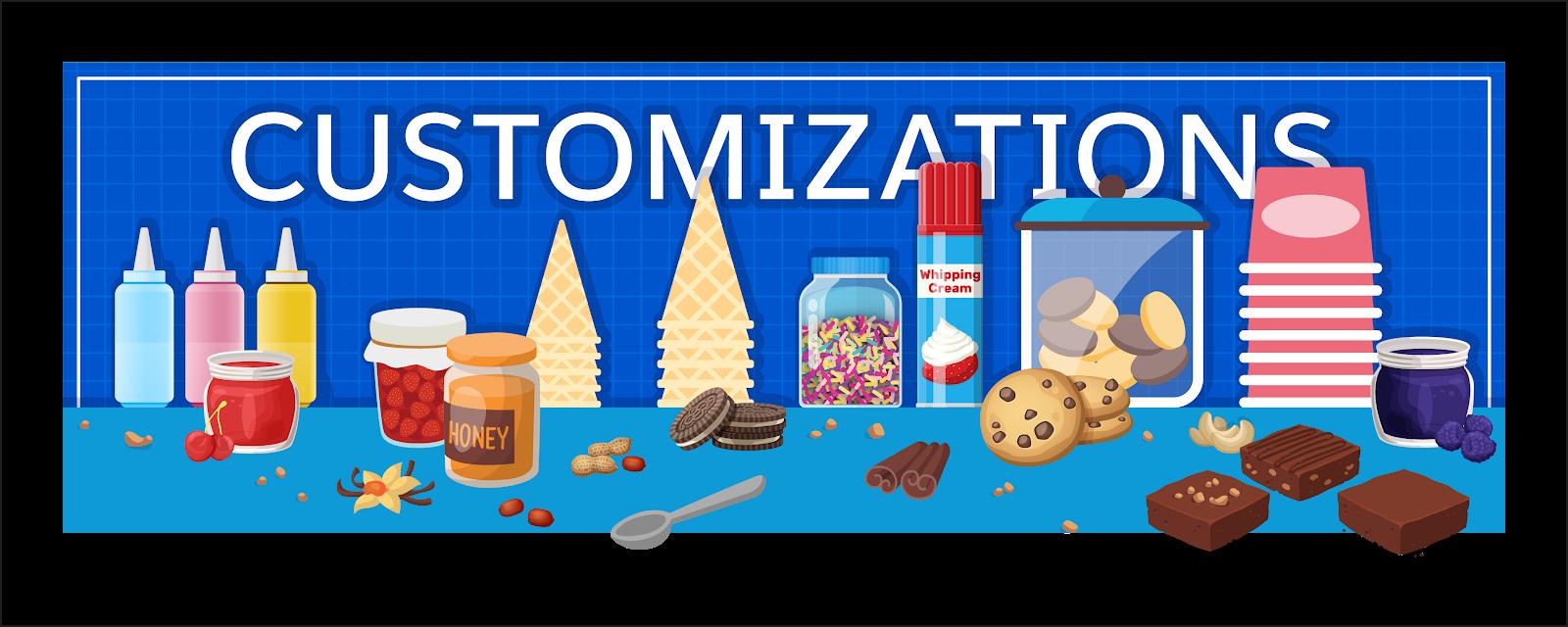 サンデーのトッピングは、特定の組織が必要とする追加のカスタマイズです。