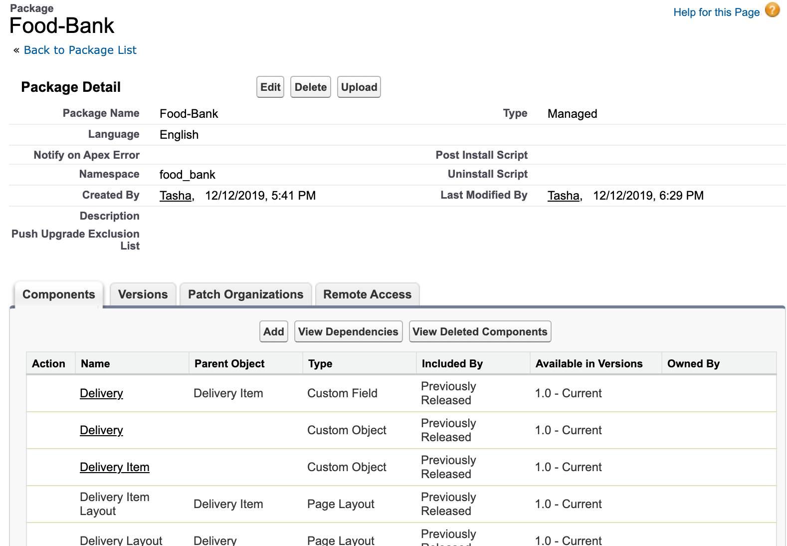 アプリケーションに含まれているすべてのカスタムコンポーネントのリストを表示している、Salesforce の新しい Food-Bank アプリケーション。