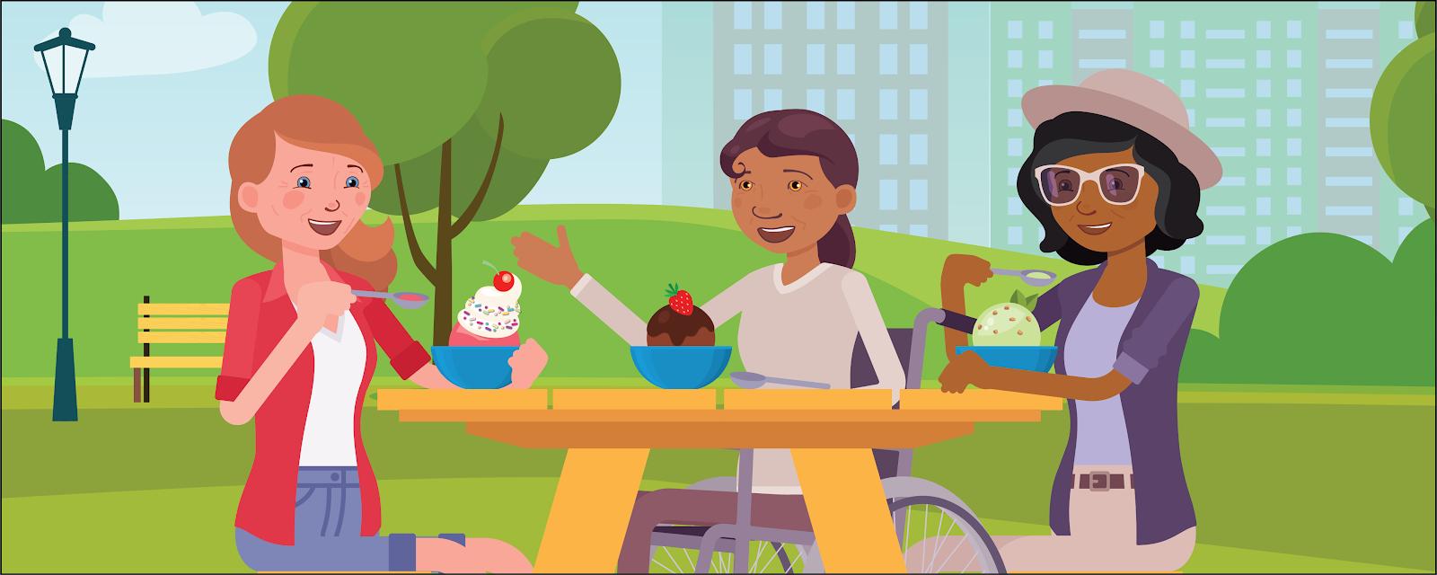 Tasha、Maddie、Isabel がピクニックテーブルに座りアイスクリームを食べています。