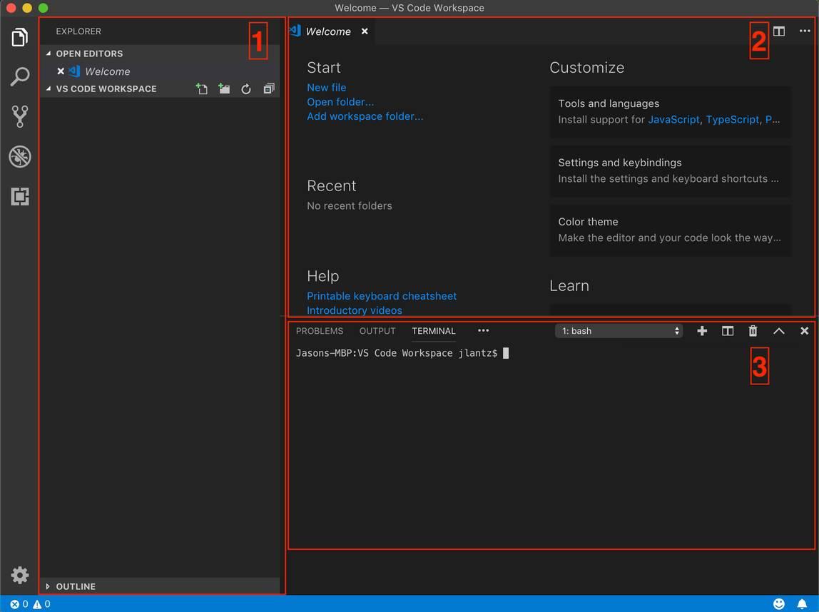 サイドバー、エディタ領域、パネルが強調表示された VS Code インターフェース。