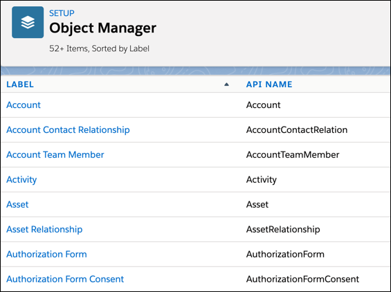 close-up of Object Manager page