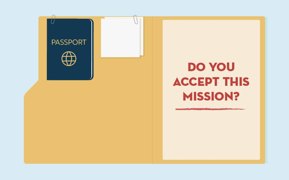 File folder graphic with text, Do you accept this mission?