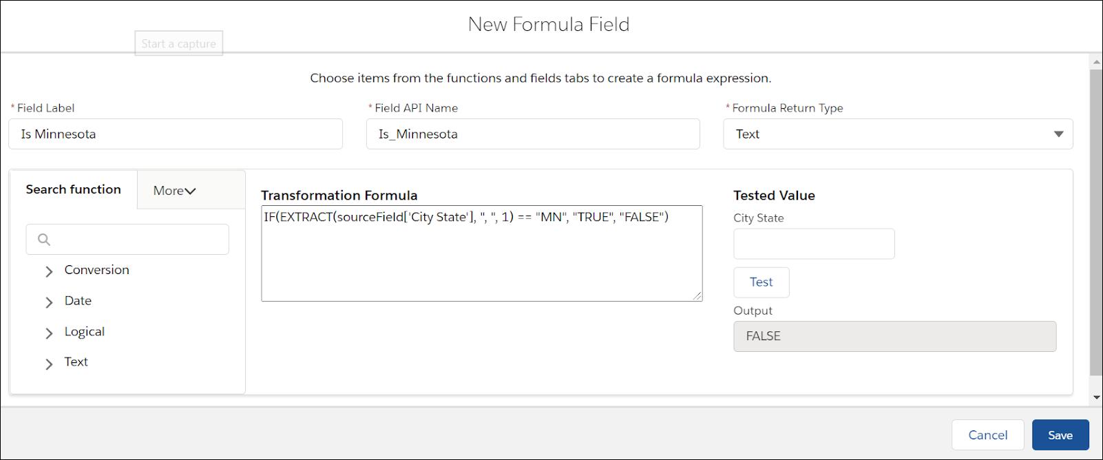 Transformation formula screen