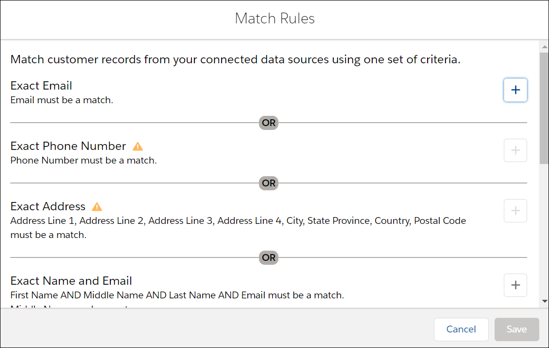 Match rules for identity resolution