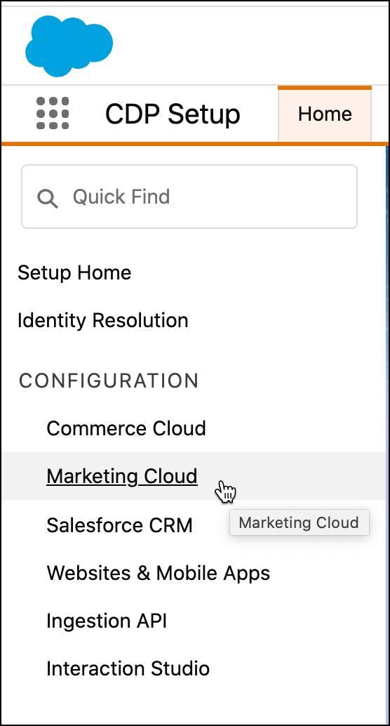Marketing Cloud configuration selected under CDP setup.