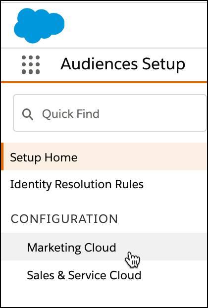 Marketing Cloud configuration selected under Audiences Setup.