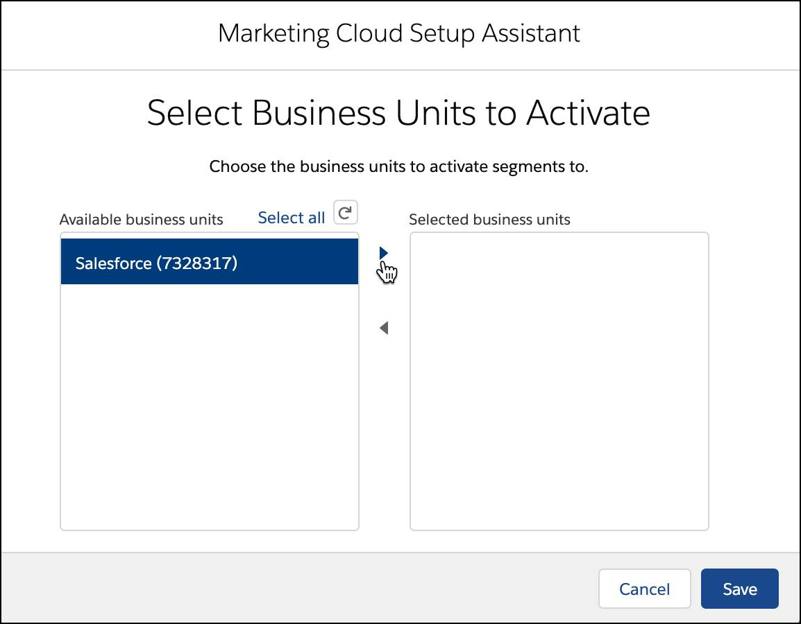 Select Business Units to activate.