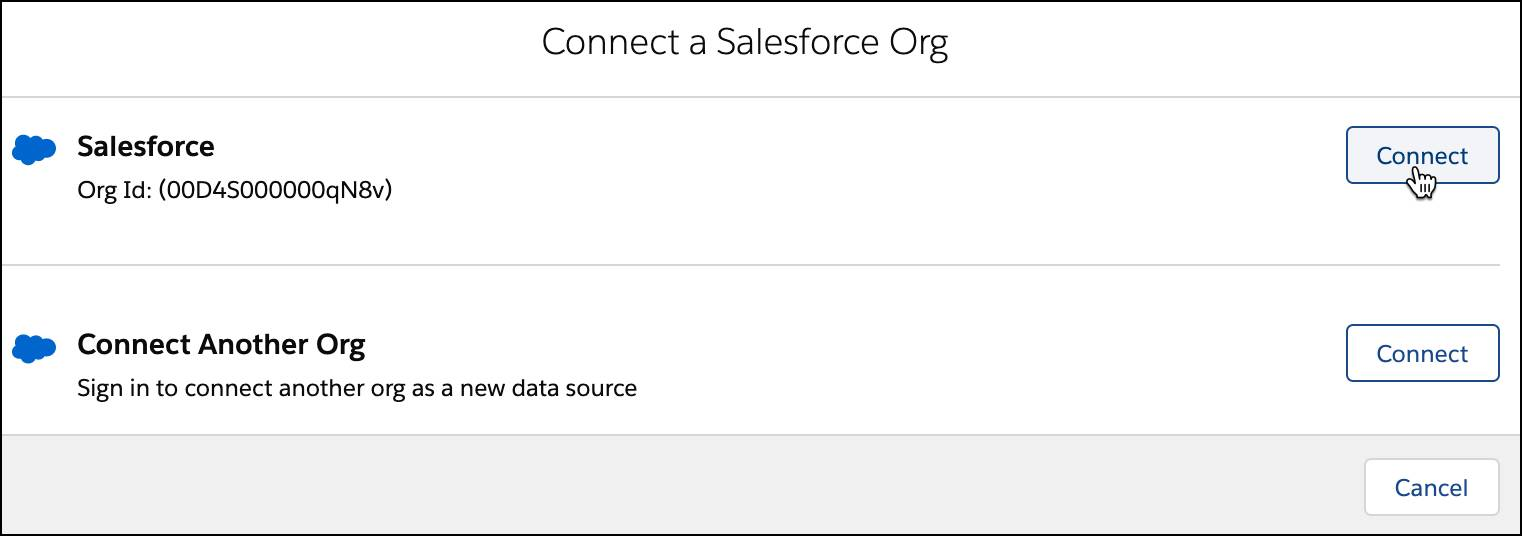Connect a Salesforce org page with the Connect button selected.