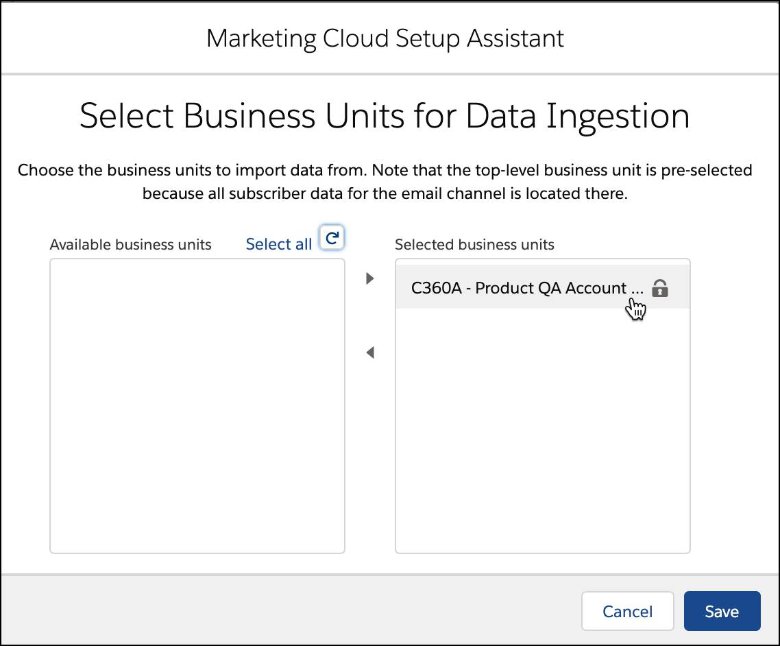Selected business units for data ingestion.