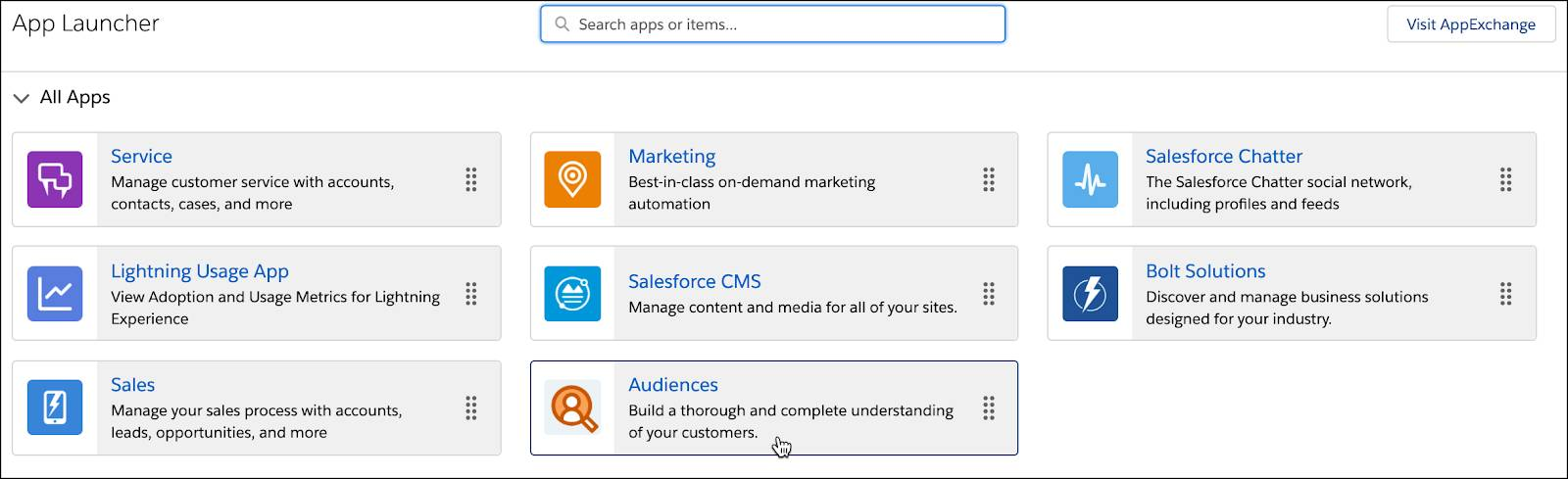 App Launcher with the Audiences app selected.
