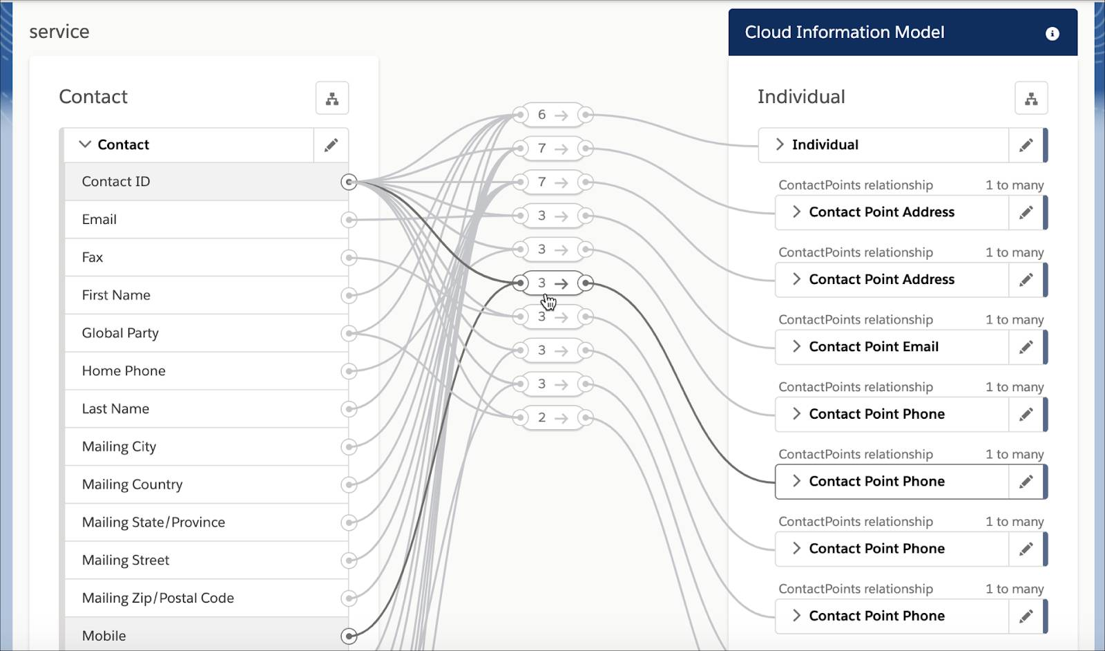 Data mapped between the Contact object in a Service Cloud org with the Contact Point Phone entity in ClM.