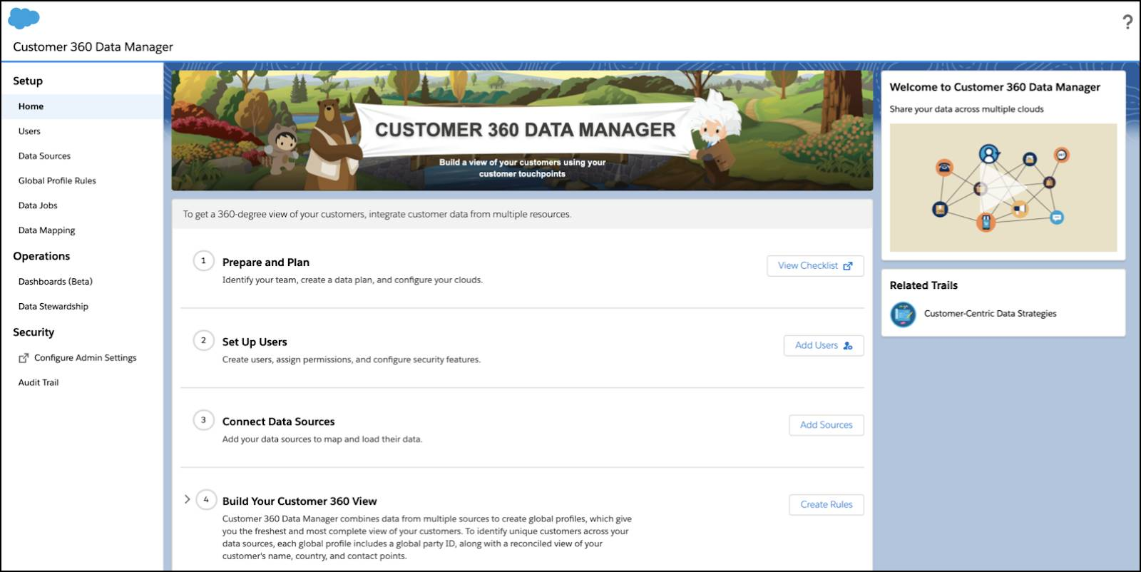 The Home page of Customer 360 Data Manager