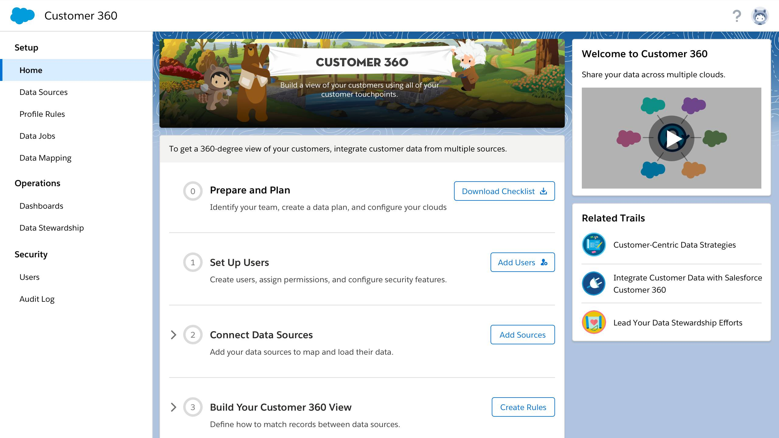 Customer 360 Data Manager start page with six implementation steps.