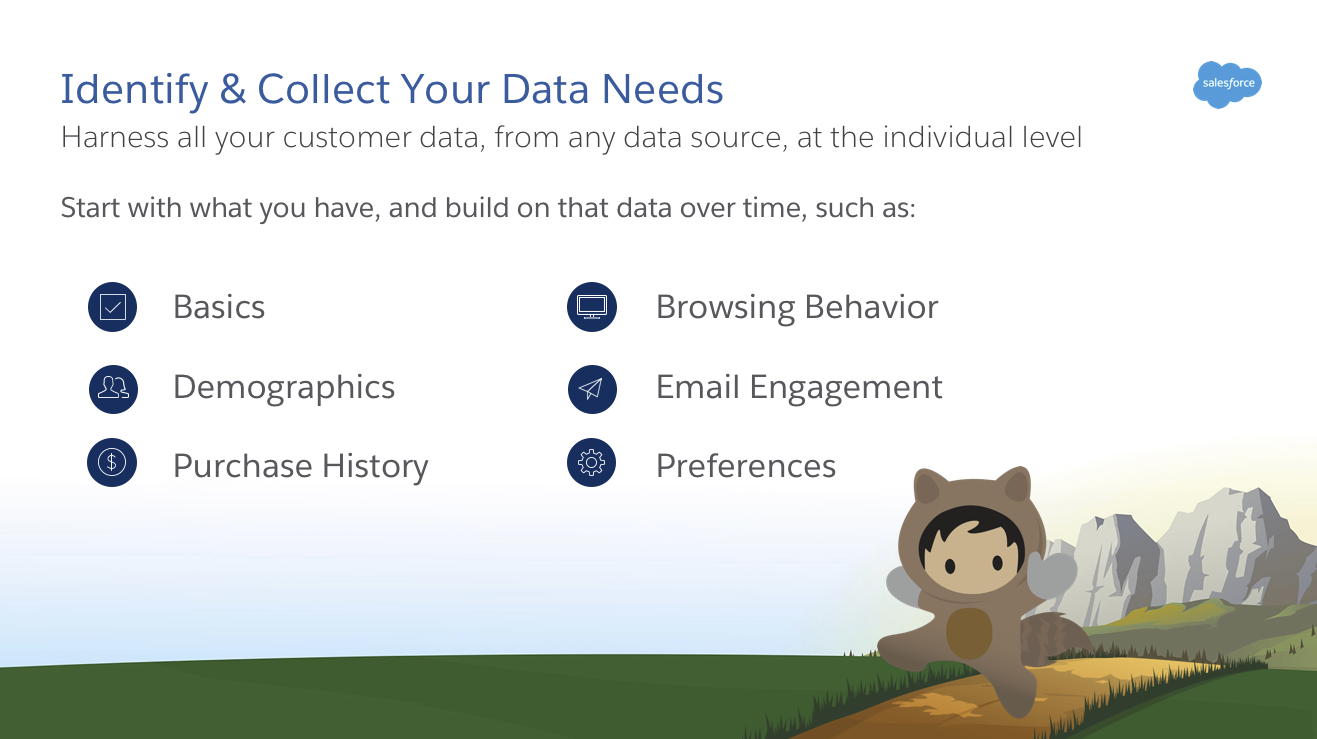 Alguns exemplos de dados de clientes são os dados básicos, demográficos, de histórico de compras, comportamento de navegação, engajamento com email e preferências.