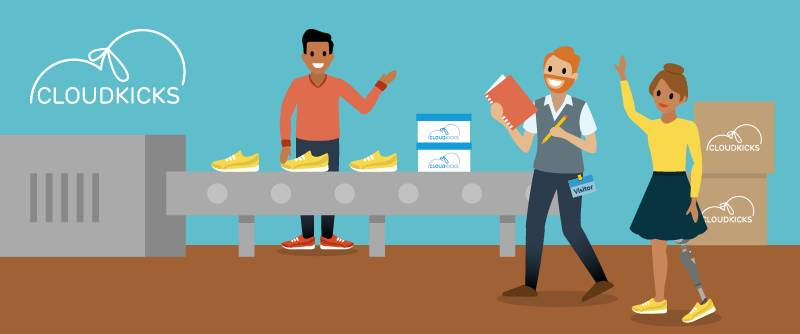 Alan は顧客起点のディスカバリーの「お客様になる」ステップの一環として、CIO と一緒に Cloud Kicks の工場を訪問しています。