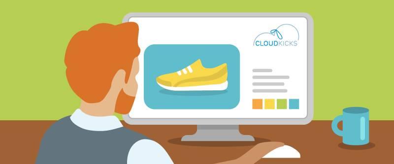 Alan Johnson が顧客起点のディスカバリーの「お客様になる」ステップの一環として、Cloud Kicks の Web サイトを訪問しています。