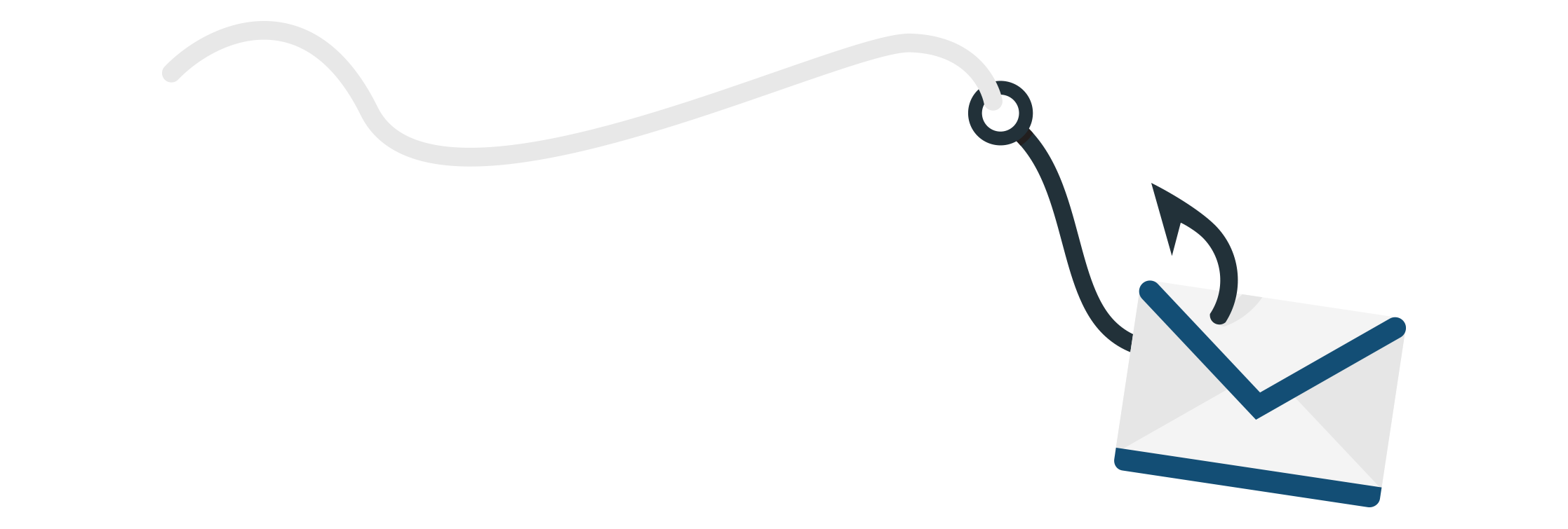 A fishing line with a hook that is attached to an envelope to symbolize a phishing email trying to lure its recipients.