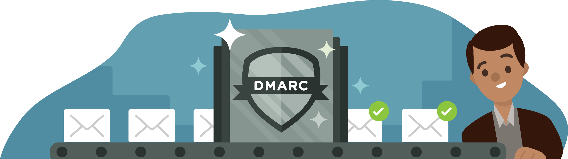 A factory line of email messages going through a DMARC process and then coming out with check marks showing they have been validated to a happy recipient.