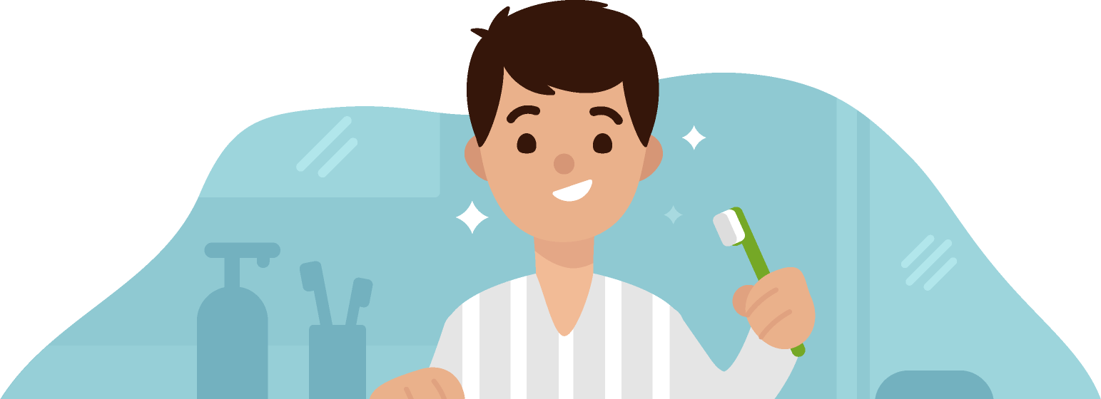 A man is brushing his teeth, which are sparkling clean.