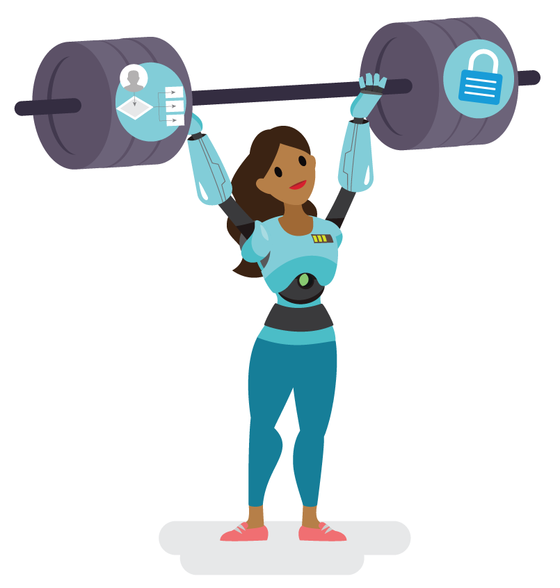 Image of a body builder with robot legs holding a dumbbell with an image of a system diagram and a shield on the weights.